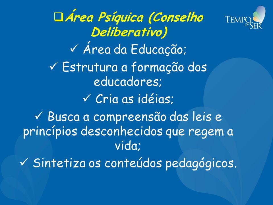Área Psíquica (Conselho Deliberativo) Área da Educação; Estrutura a formação dos educadores; Cria as idéias; Busca a compreensão das leis e princípios desconhecidos que regem a vida; Sintetiza os conteúdos pedagógicos.