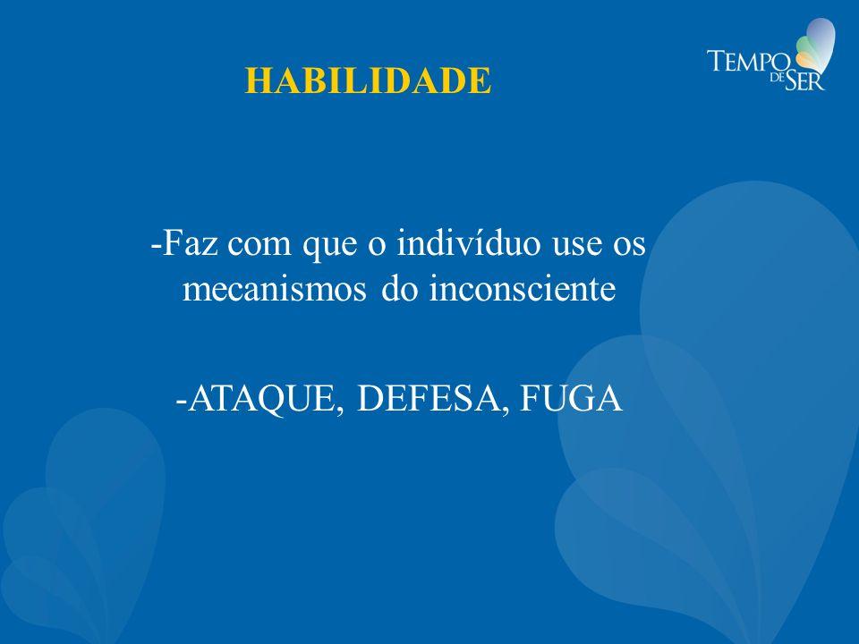 HABILIDADE -Faz com que o indivíduo use os mecanismos do inconsciente -ATAQUE, DEFESA, FUGA