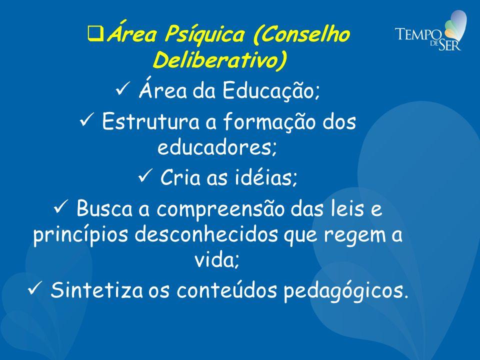 Área Psíquica (Conselho Deliberativo) Área da Educação; Estrutura a formação dos educadores; Cria as idéias; Busca a compreensão das leis e princípios