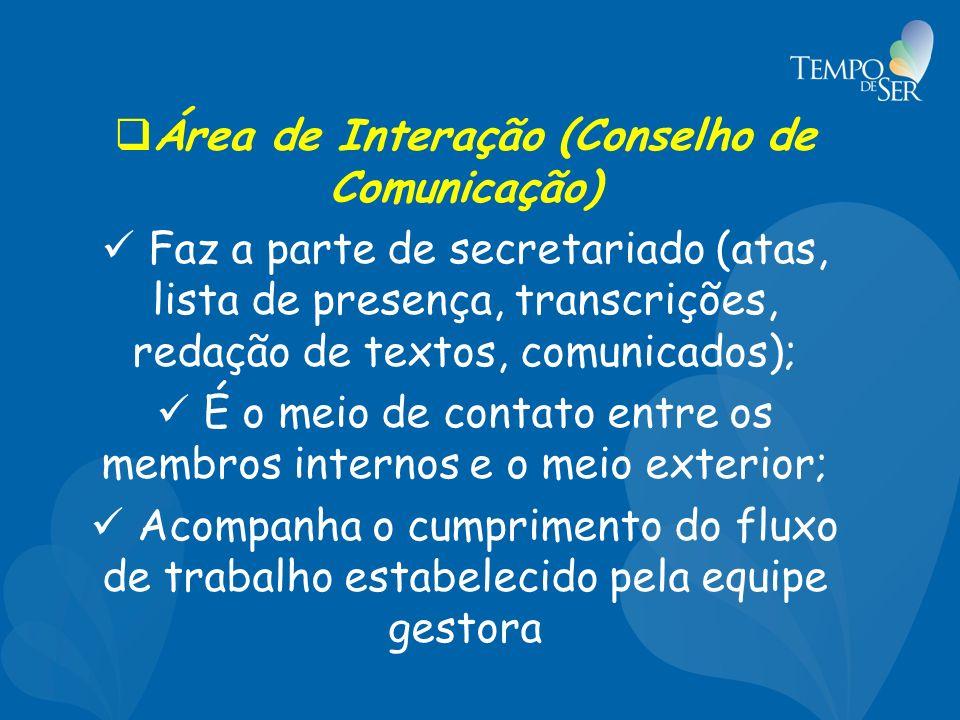 Área de Interação (Conselho de Comunicação) Faz a parte de secretariado (atas, lista de presença, transcrições, redação de textos, comunicados); É o meio de contato entre os membros internos e o meio exterior; Acompanha o cumprimento do fluxo de trabalho estabelecido pela equipe gestora