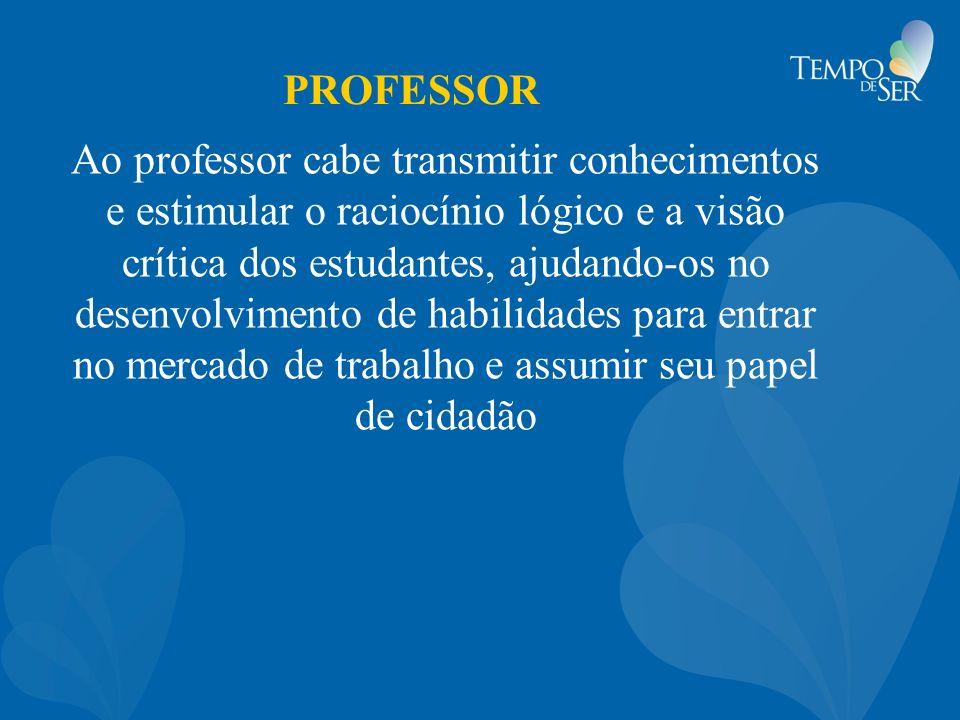 PROFESSOR Ao professor cabe transmitir conhecimentos e estimular o raciocínio lógico e a visão crítica dos estudantes, ajudando-os no desenvolvimento