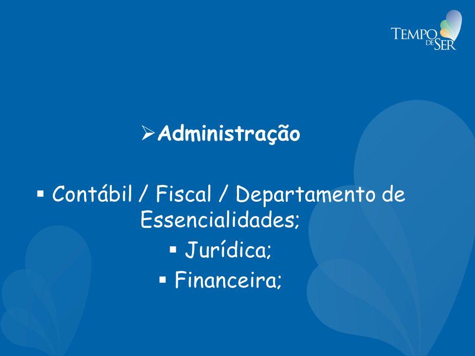 Administração Contábil / Fiscal / Departamento de Essencialidades; Jurídica; Financeira;