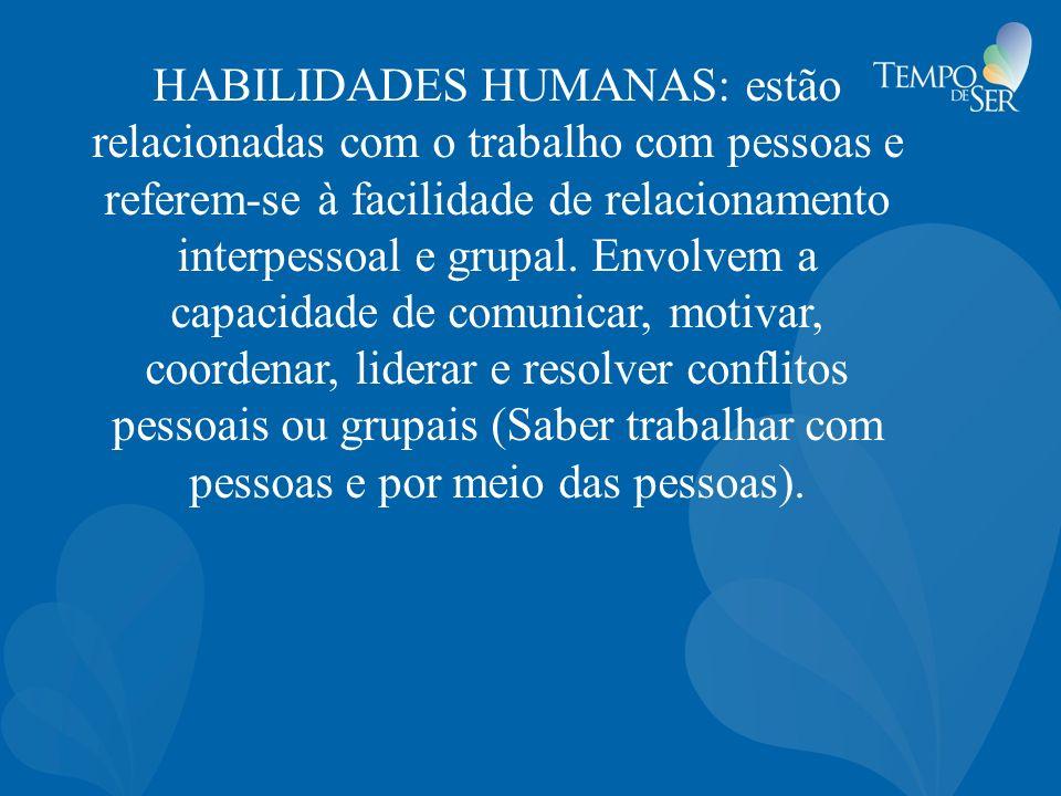 HABILIDADES HUMANAS: estão relacionadas com o trabalho com pessoas e referem-se à facilidade de relacionamento interpessoal e grupal. Envolvem a capac