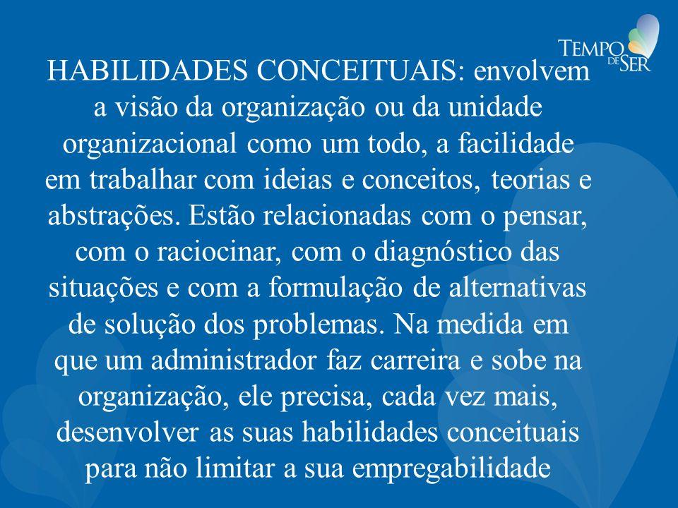 HABILIDADES CONCEITUAIS: envolvem a visão da organização ou da unidade organizacional como um todo, a facilidade em trabalhar com ideias e conceitos,