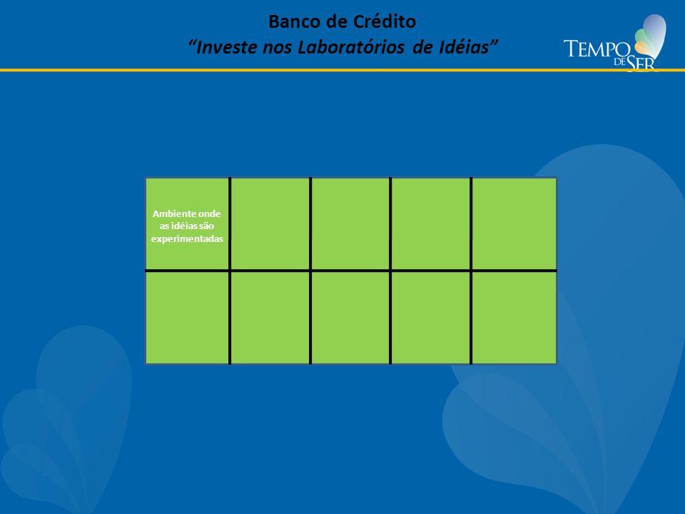 Banco de Crédito Investe nos Laboratórios de Idéias Ambiente onde as idéias são experimentadas