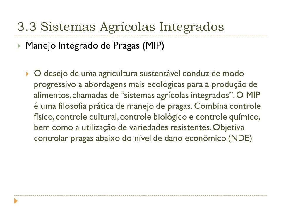 3.3 Sistemas Agrícolas Integrados Manejo Integrado de Pragas (MIP) O desejo de uma agricultura sustentável conduz de modo progressivo a abordagens mais ecológicas para a produção de alimentos, chamadas de sistemas agrícolas integrados.