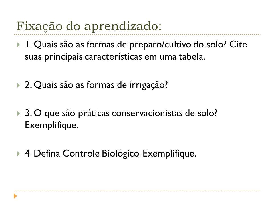 Fixação do aprendizado: 1.Quais são as formas de preparo/cultivo do solo.