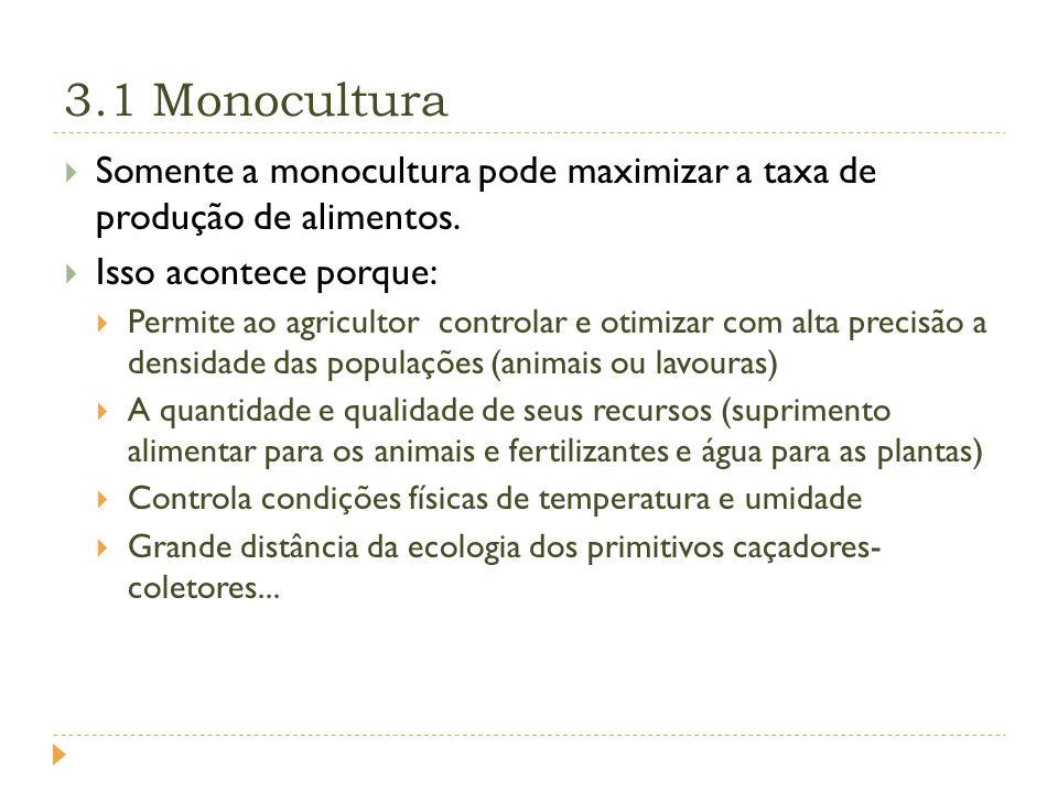3.1 Monocultura Somente a monocultura pode maximizar a taxa de produção de alimentos.