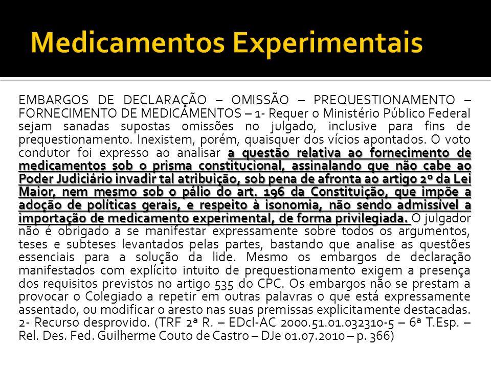 a questão relativa ao fornecimento de medicamentos sob o prisma constitucional, assinalando que não cabe ao Poder Judiciário invadir tal atribuição, s