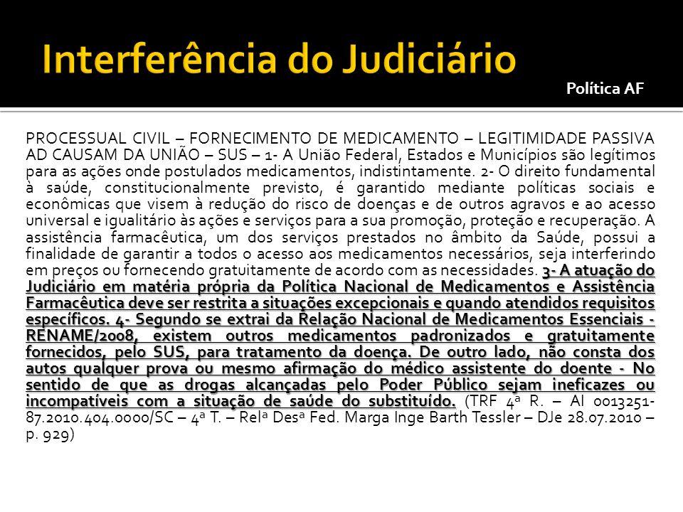 3- A atuação do Judiciário em matéria própria da Política Nacional de Medicamentos e Assistência Farmacêutica deve ser restrita a situações excepciona