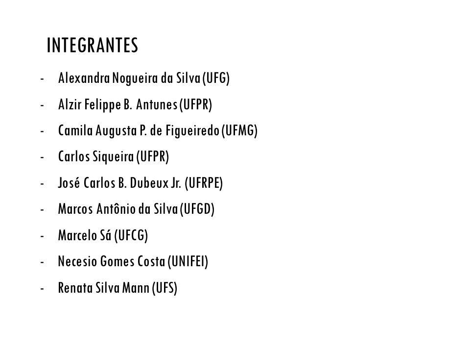 INTEGRANTES -Alexandra Nogueira da Silva (UFG) -Alzir Felippe B. Antunes (UFPR) -Camila Augusta P. de Figueiredo (UFMG) -Carlos Siqueira (UFPR) -José
