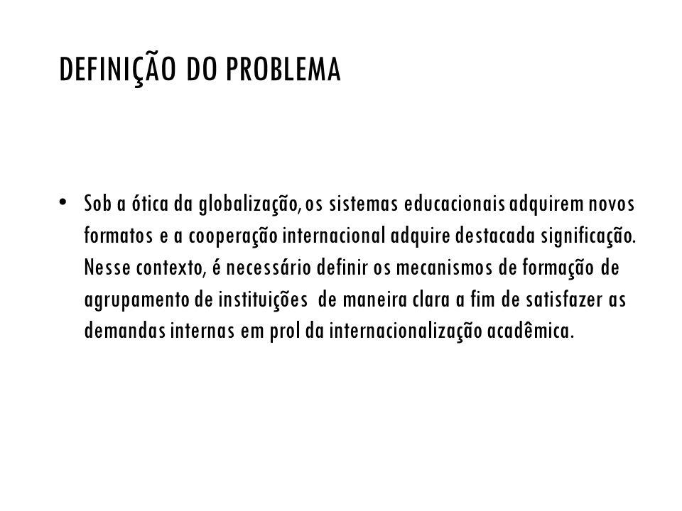 DEFINIÇÃO DO PROBLEMA Sob a ótica da globalização, os sistemas educacionais adquirem novos formatos e a cooperação internacional adquire destacada sig