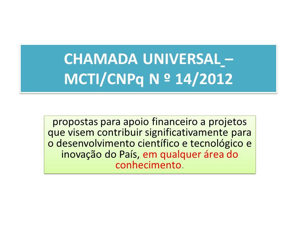 CHAMADA UNIVERSAL – MCTI/CNPq N º 14/2012 propostas para apoio financeiro a projetos que visem contribuir significativamente para o desenvolvimento científico e tecnológico e inovação do País, em qualquer área do conhecimento.