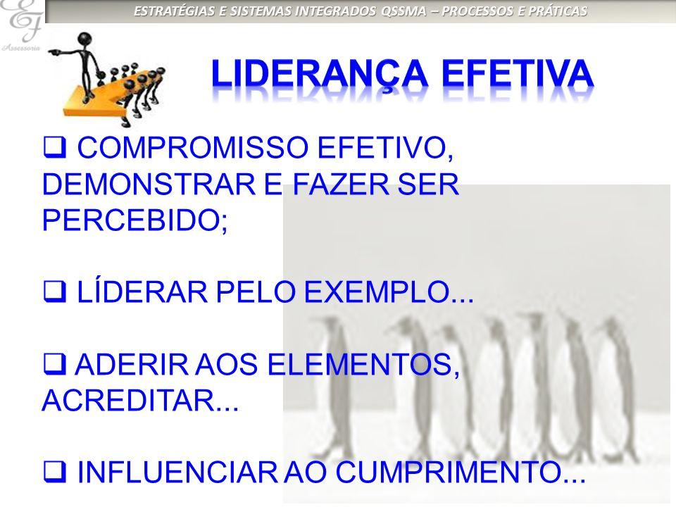 COMPROMISSO EFETIVO, DEMONSTRAR E FAZER SER PERCEBIDO; LÍDERAR PELO EXEMPLO...