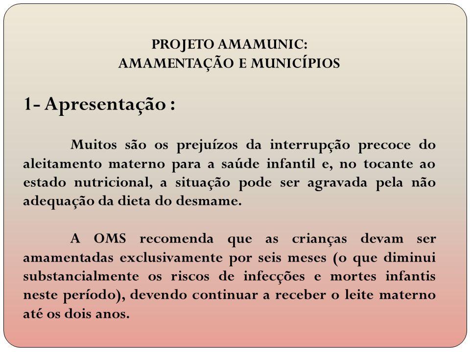 PROJETO AMAMUNIC: AMAMENTAÇÃO E MUNICÍPIOS 1- Apresentação : Muitos são os prejuízos da interrupção precoce do aleitamento materno para a saúde infant