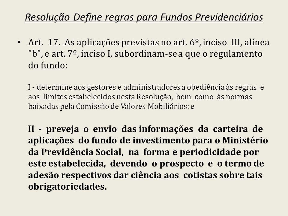 Resolução Define regras para Fundos Previdenciários Art. 17. As aplicações previstas no art. 6º, inciso III, alínea