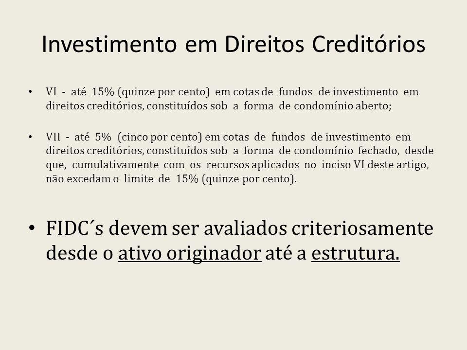 Investimento em Direitos Creditórios VI - até 15% (quinze por cento) em cotas de fundos de investimento em direitos creditórios, constituídos sob a fo