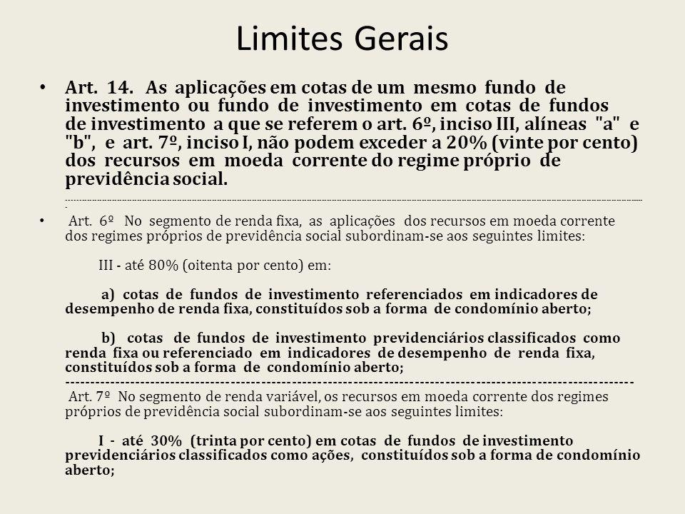 Limites Gerais Art. 14. As aplicações em cotas de um mesmo fundo de investimento ou fundo de investimento em cotas de fundos de investimento a que se