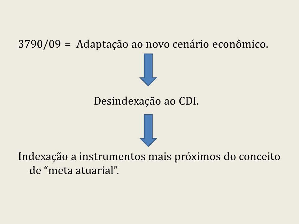 3790/09 = Adaptação ao novo cenário econômico. Desindexação ao CDI. Indexação a instrumentos mais próximos do conceito de meta atuarial.