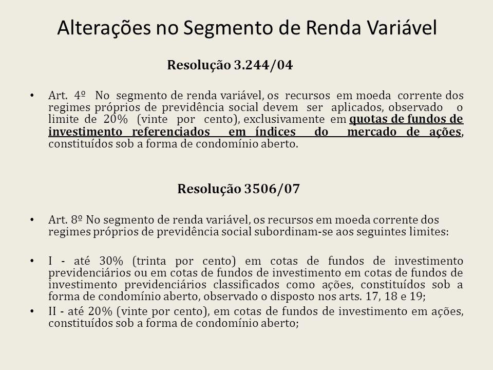 Alterações no Segmento de Renda Variável Resolução 3.244/04 Art. 4º No segmento de renda variável, os recursos em moeda corrente dos regimes próprios