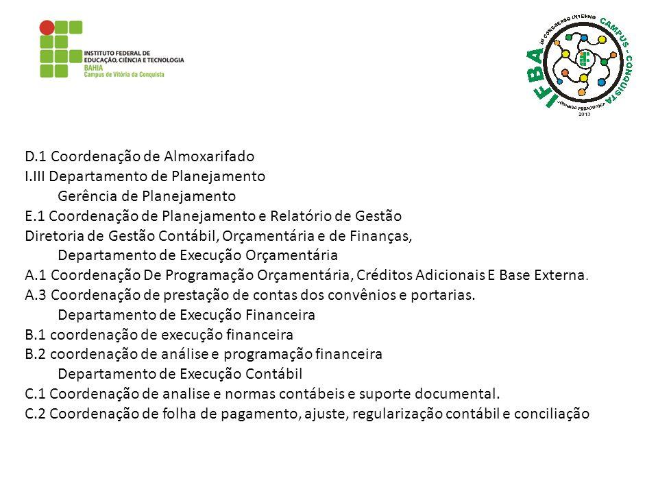 D.1 Coordenação de Almoxarifado I.III Departamento de Planejamento Gerência de Planejamento E.1 Coordenação de Planejamento e Relatório de Gestão Dire