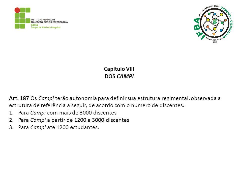 Capítulo VIII DOS CAMPI Art. 187 Os Campi terão autonomia para definir sua estrutura regimental, observada a estrutura de referência a seguir, de acor