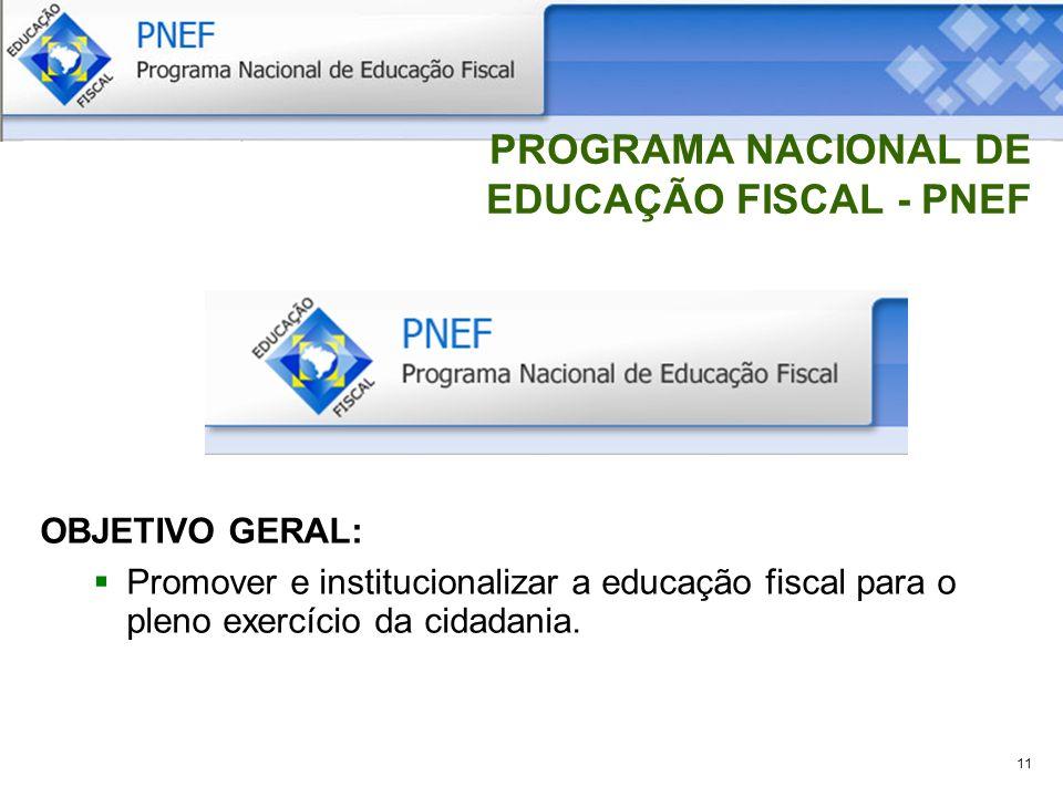 11 PROGRAMA NACIONAL DE EDUCAÇÃO FISCAL - PNEF OBJETIVO GERAL: Promover e institucionalizar a educação fiscal para o pleno exercício da cidadania.