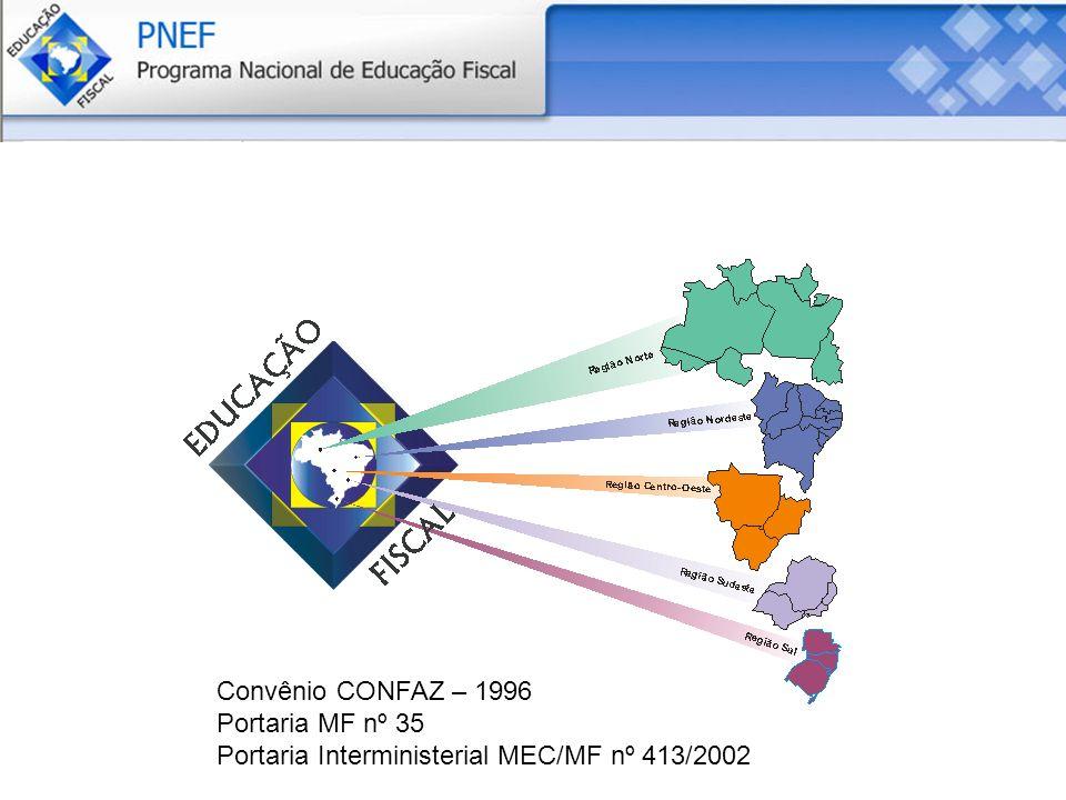 Coordenação Nacional Convênio CONFAZ – 1996 Portaria MF nº 35 Portaria Interministerial MEC/MF nº 413/2002