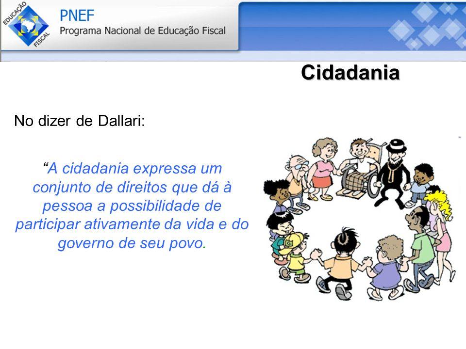 Cidadania No dizer de Dallari: A cidadania expressa um conjunto de direitos que dá à pessoa a possibilidade de participar ativamente da vida e do governo de seu povo.