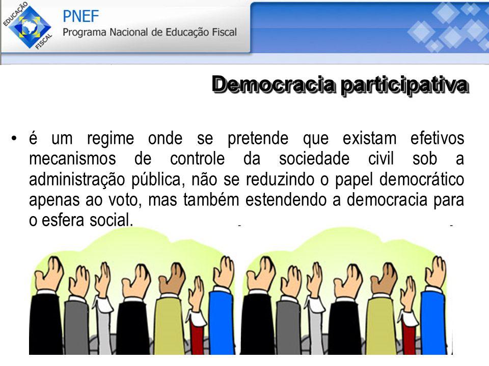 é um regime onde se pretende que existam efetivos mecanismos de controle da sociedade civil sob a administração pública, não se reduzindo o papel democrático apenas ao voto, mas também estendendo a democracia para o esfera social.