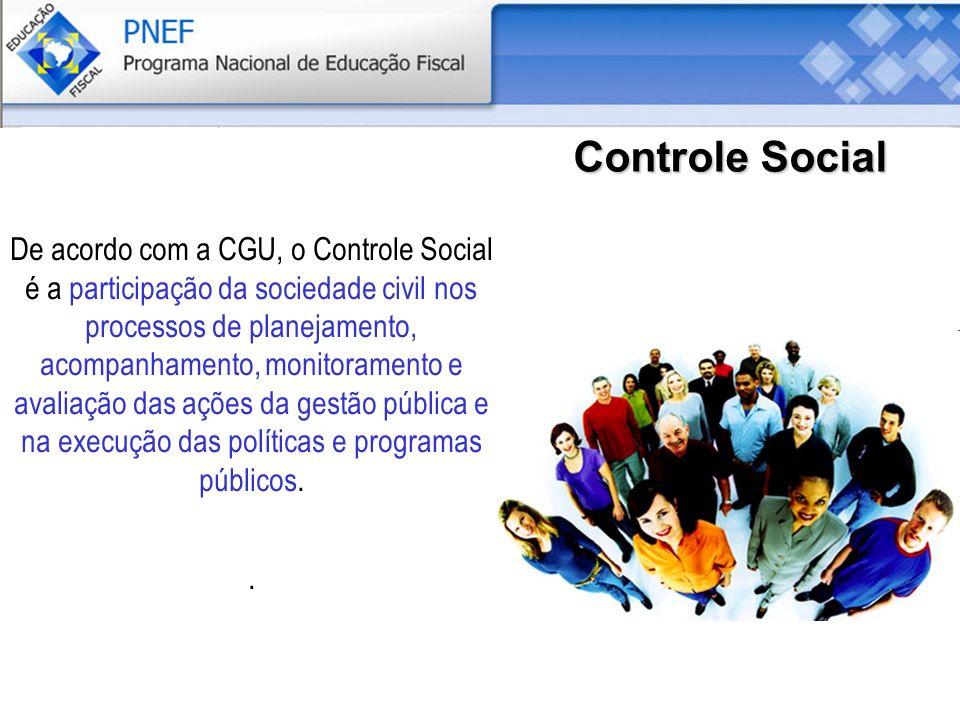 Controle Social De acordo com a CGU, o Controle Social é a participação da sociedade civil nos processos de planejamento, acompanhamento, monitoramento e avaliação das ações da gestão pública e na execução das políticas e programas públicos..