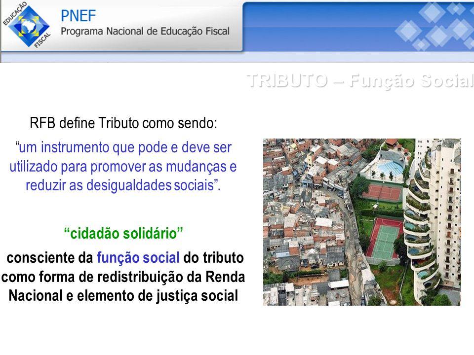 TRIBUTO – Função Social RFB define Tributo como sendo: um instrumento que pode e deve ser utilizado para promover as mudanças e reduzir as desigualdades sociais.