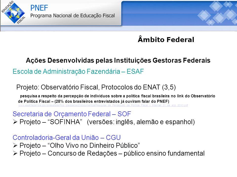 Âmbito Federal Ações Desenvolvidas pelas Instituições Gestoras Federais Escola de Administração Fazendária – ESAF Projeto: Observatório Fiscal, Protocolos do ENAT (3,5) pesquisa a respeito da percepção de indivíduos sobre a política fiscal brasileira no link do Observatório de Política Fiscal – (28% dos brasileiros entrevistados já ouviram falar do PNEF) www.esaf.fazenda.gov.br/esafsite/Pos_graduacao2/documentos/Pesquisa_de_Percepcao_da_Politica_Fiscal_v_Internet_31_de_ago_2010.pdf Secretaria de Orçamento Federal – SOF Projeto – SOFINHA (versões: inglês, alemão e espanhol) Controladoria-Geral da União – CGU Projeto – Olho Vivo no Dinheiro Público Projeto – Concurso de Redações – público ensino fundamental