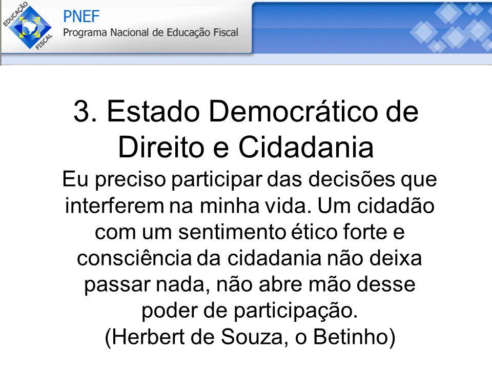 3. Estado Democrático de Direito e Cidadania Eu preciso participar das decisões que interferem na minha vida. Um cidadão com um sentimento ético forte