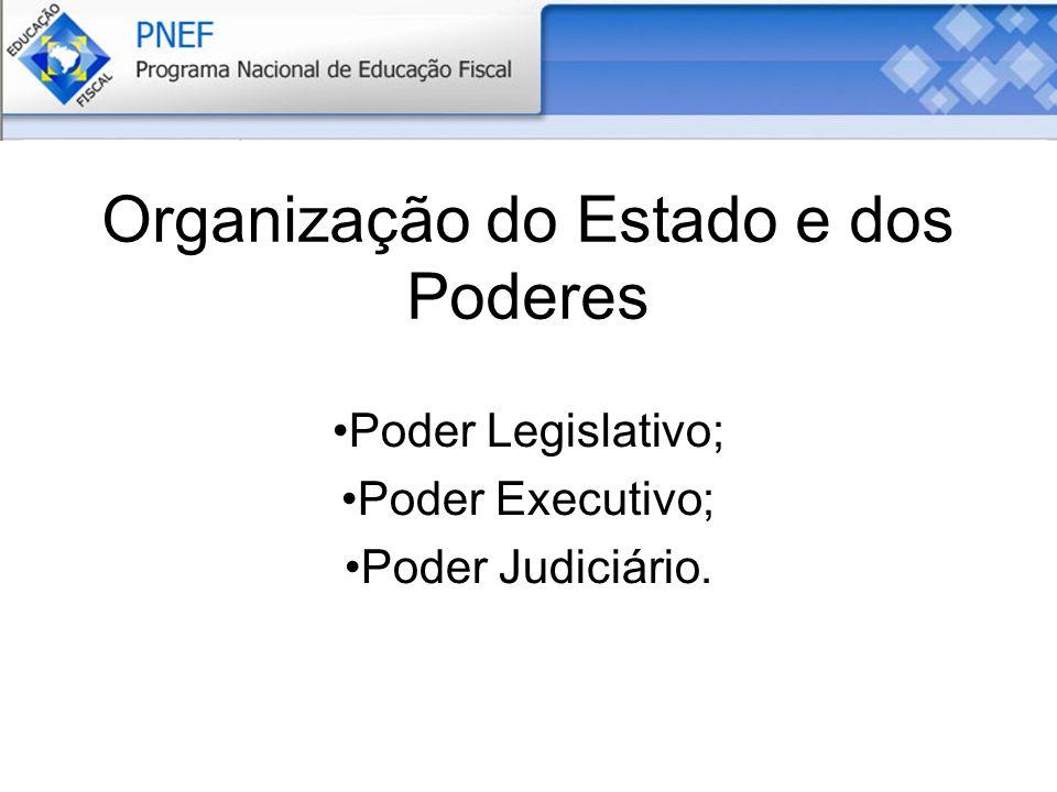 Organização do Estado e dos Poderes Poder Legislativo; Poder Executivo; Poder Judiciário.