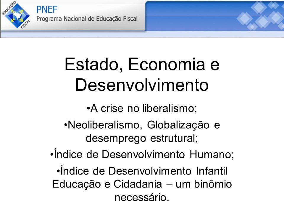 Estado, Economia e Desenvolvimento A crise no liberalismo; Neoliberalismo, Globalização e desemprego estrutural; Índice de Desenvolvimento Humano; Índice de Desenvolvimento Infantil Educação e Cidadania – um binômio necessário.