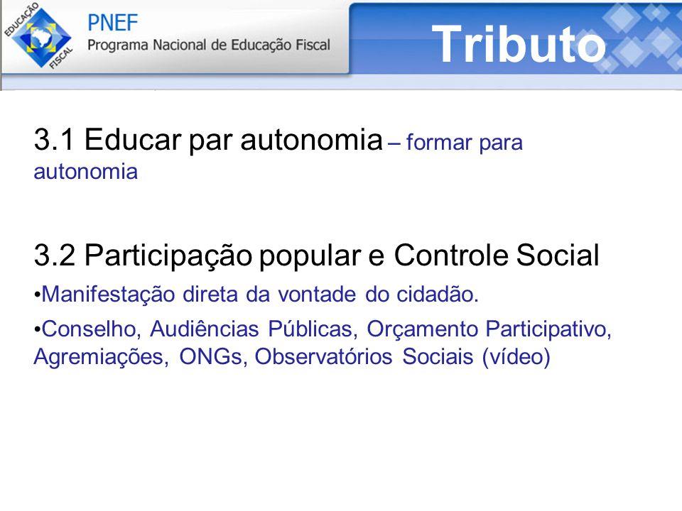 Tributo 3.1 Educar par autonomia – formar para autonomia 3.2 Participação popular e Controle Social Manifestação direta da vontade do cidadão.