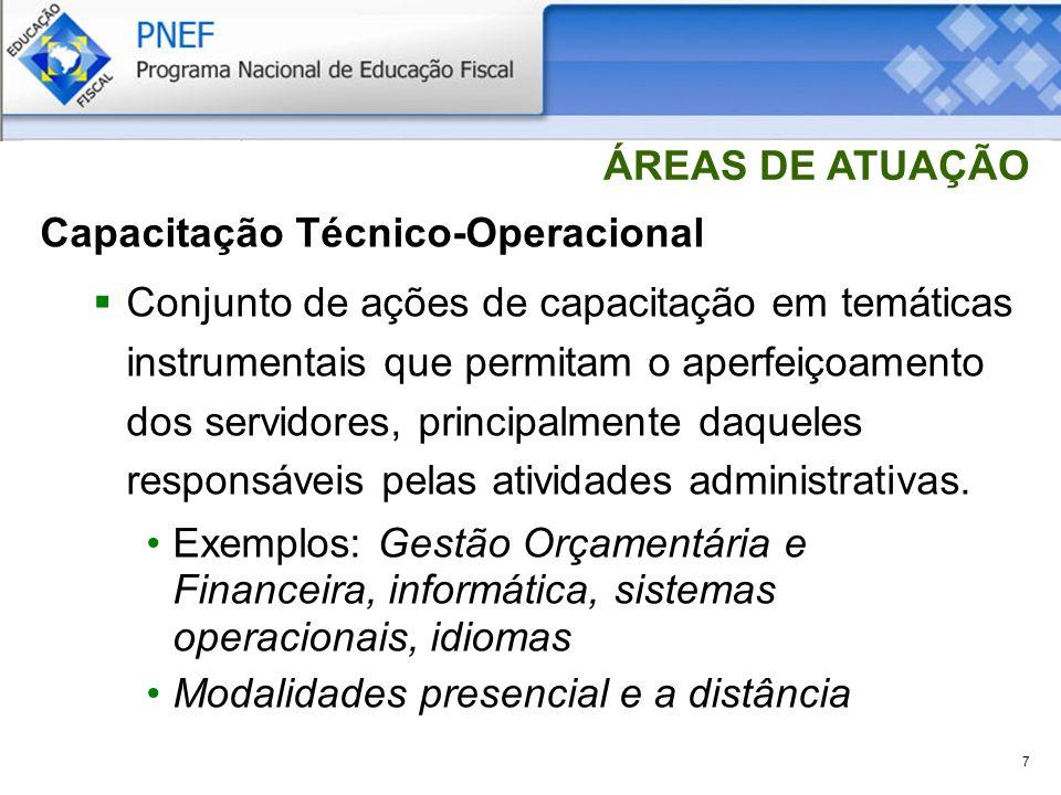 7 ÁREAS DE ATUAÇÃO Capacitação Técnico-Operacional Conjunto de ações de capacitação em temáticas instrumentais que permitam o aperfeiçoamento dos servidores, principalmente daqueles responsáveis pelas atividades administrativas.