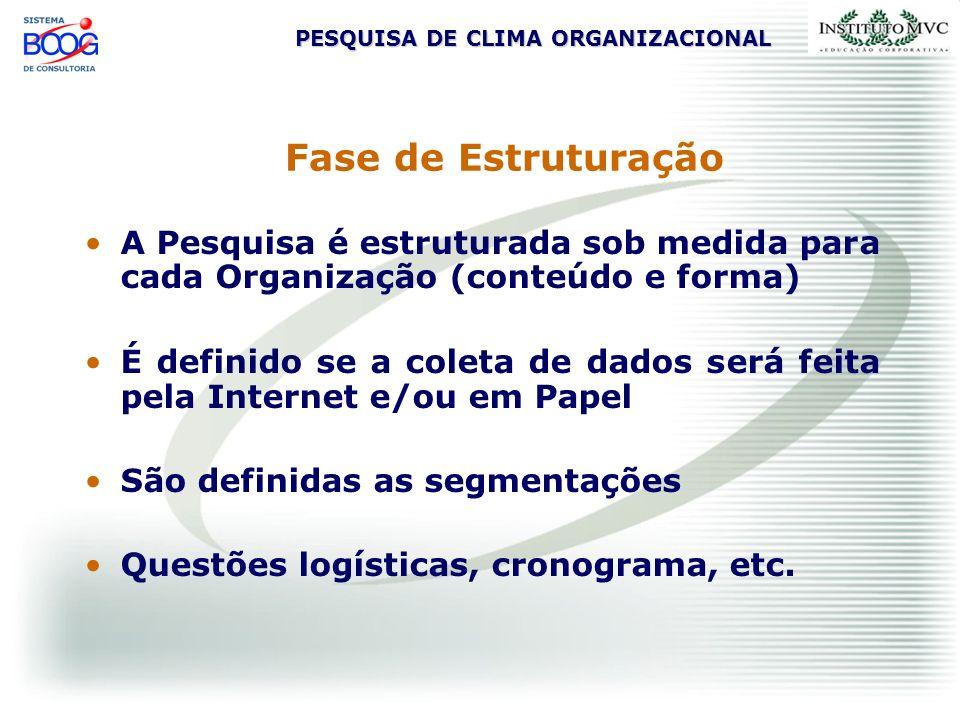 PESQUISA DE CLIMA ORGANIZACIONAL Fase de Estruturação A Pesquisa é estruturada sob medida para cada Organização (conteúdo e forma) É definido se a col