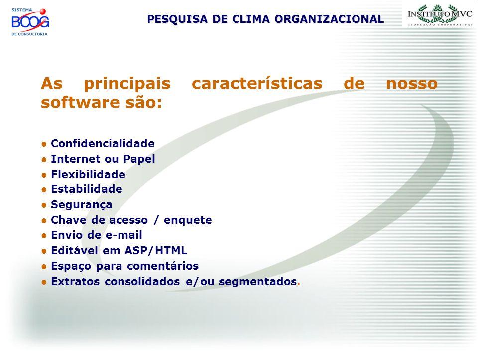 PESQUISA DE CLIMA ORGANIZACIONAL As principais características de nosso software são: Confidencialidade Internet ou Papel Flexibilidade Estabilidade S