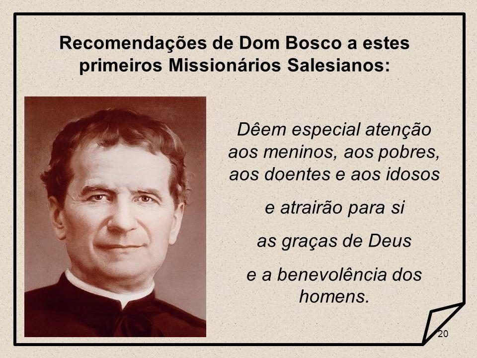 19 1 ª Expedição Missionária – Dom Cagliero, à esquerda, recebe as Constituições Salesianas das mãos de D Bosco. 11 – 11 – 1875