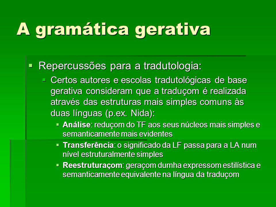 A gramática gerativa Repercussões para a tradutologia: Repercussões para a tradutologia: Certos autores e escolas tradutológicas de base gerativa cons