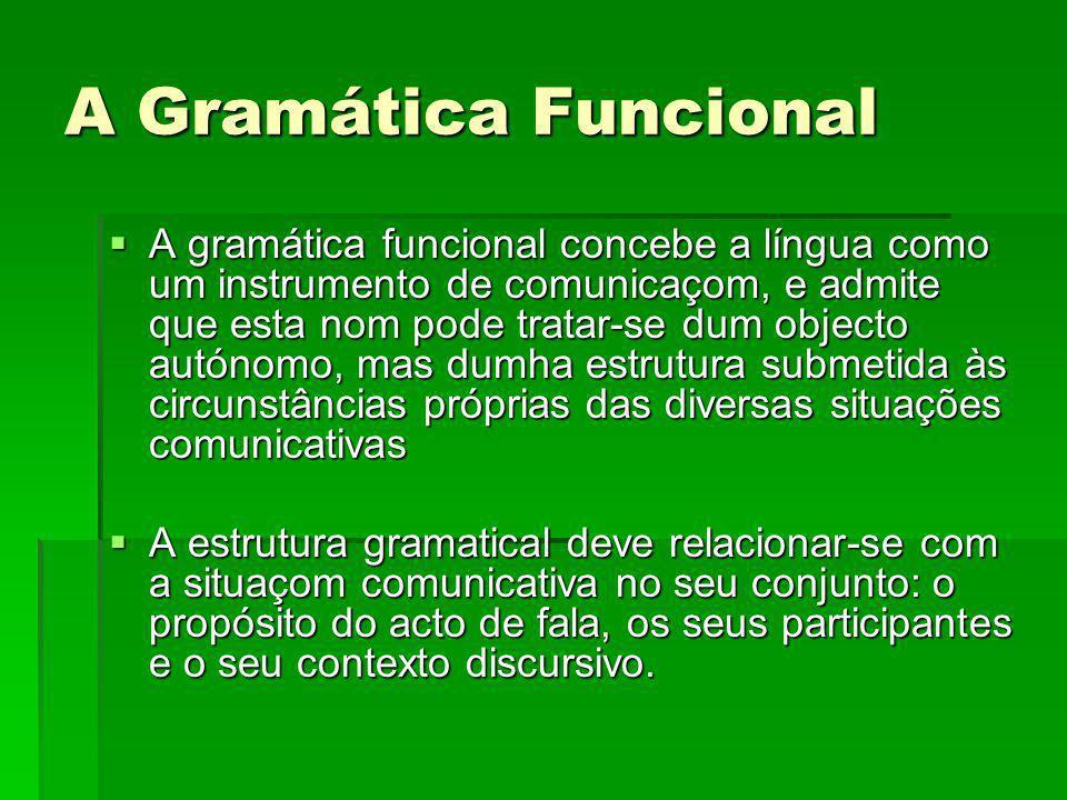 A Gramática Funcional A gramática funcional concebe a língua como um instrumento de comunicaçom, e admite que esta nom pode tratar-se dum objecto autó