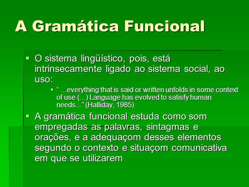 A Gramática Funcional O sistema lingüístico, pois, está intrinsecamente ligado ao sistema social, ao uso: O sistema lingüístico, pois, está intrinseca