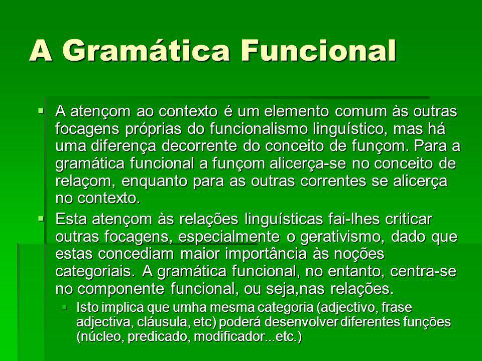 A atençom ao contexto é um elemento comum às outras focagens próprias do funcionalismo linguístico, mas há uma diferença decorrente do conceito de fun