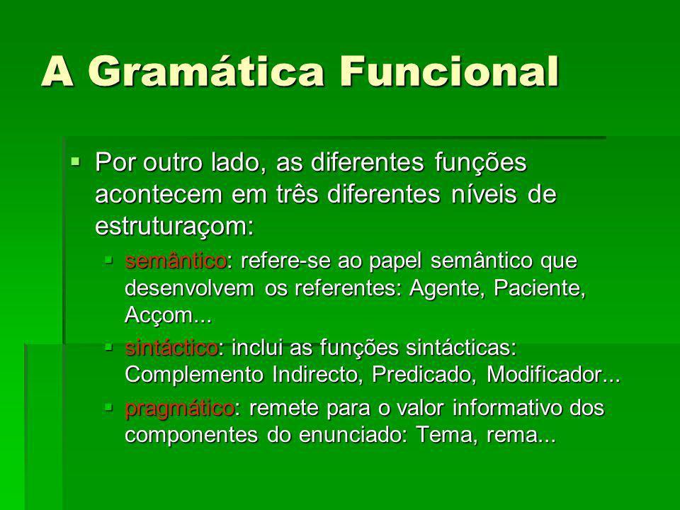 A Gramática Funcional Por outro lado, as diferentes funções acontecem em três diferentes níveis de estruturaçom: Por outro lado, as diferentes funções