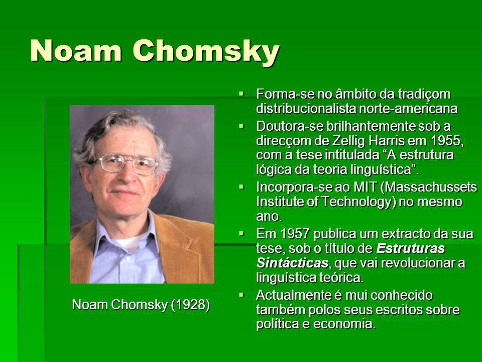 Noam Chomsky Noam Chomsky (1928) Noam Chomsky (1928) Forma-se no âmbito da tradiçom distribucionalista norte-americana Forma-se no âmbito da tradiçom