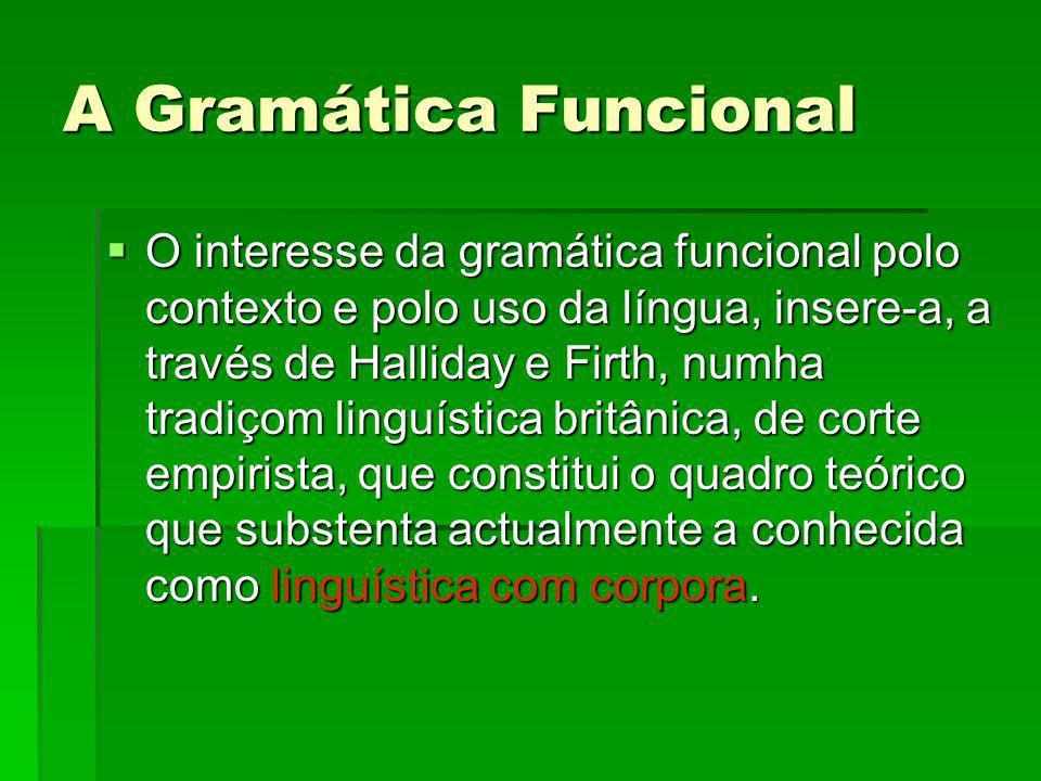 A Gramática Funcional O interesse da gramática funcional polo contexto e polo uso da língua, insere-a, a través de Halliday e Firth, numha tradiçom li