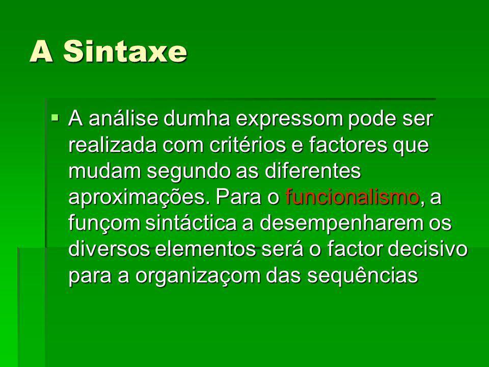 A Sintaxe A análise dumha expressom pode ser realizada com critérios e factores que mudam segundo as diferentes aproximações. Para o funcionalismo, a