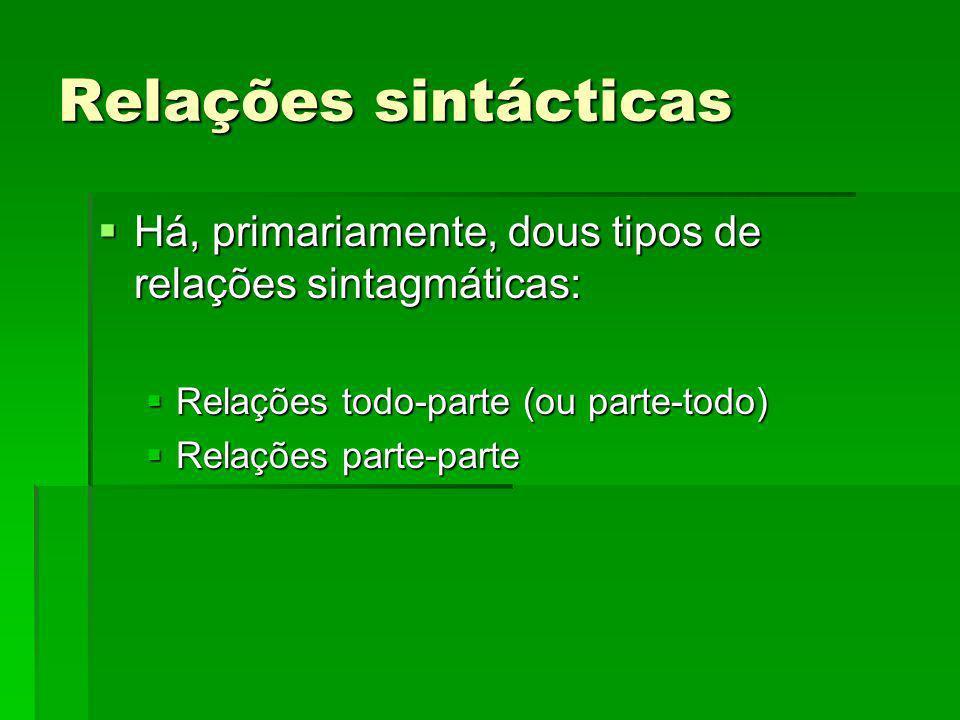 Relações sintácticas Há, primariamente, dous tipos de relações sintagmáticas: Há, primariamente, dous tipos de relações sintagmáticas: Relações todo-p